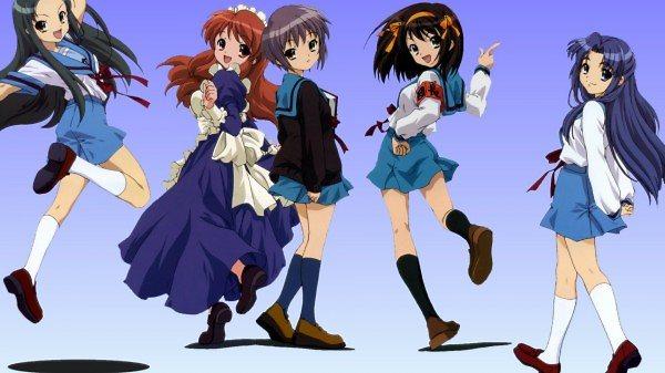 Anime lány tömeg öröm ugrás tánc ruha alak háttérkép ec1396053c