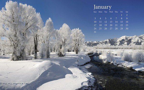 2010 naptár január Friss hó január 2010 naptár háttérkép 2010 naptár január